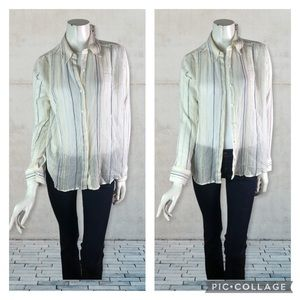 Michael Stars size L White Sheer Gauzy Button Front Blouse Embroidered Stripes